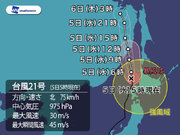 台風21号 北海道沖を北上中