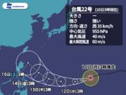 強い台風22号 今後、猛烈な勢力に発達しながら西へ