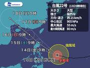 大型で猛烈な勢力の台風22号 フィリピン直撃へ 先島は7~8mの大しけに