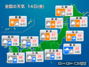 14日(金) 西日本・東日本は朝から雨 沖縄は台風22号の影響あり