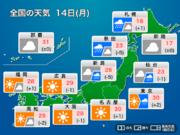 今日14日(月)の天気 北は雨風強い 関東は午後は天気急変 西は晴れ