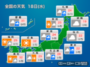 今日18日(水)の天気 東日本や北海道で雨 関東は気温上がらず
