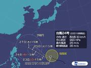 台風24号 急速に発達し、明後日には猛烈な勢力に