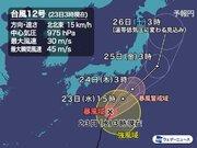 台風12号 進路をやや東へ 24日(木)に関東へ最接近 大雨・強風に警戒