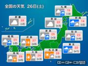 今日26日(土)の天気 北日本は暴風・強雨に注意 関東以西も所々で雨