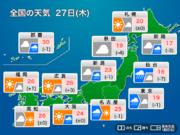 27日(木) 関東、東北は冷たい雨 西日本は日差しに期待