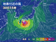 大型で非常に強い台風24号 風のシミュレーション