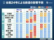 台風24号による飛行機、鉄道の影響 30日(日)にかけ全国拡大へ