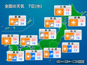 明日10月7日(水)の天気 秋雨前線が北上 関東など太平洋側は次第に雨