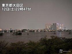 多摩川で氾濫発生 雨の峠過ぎても浸水被害に警戒