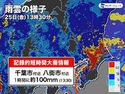 千葉県で1時間に約100mmの猛烈な雨 記録的短時間大雨情報