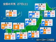 27日(土) 関東から北海道の広範囲で強雨注意