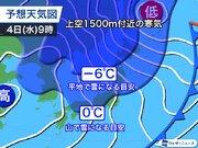 札幌など4日(水)は初雪の可能性大 12月並みの寒気が南下