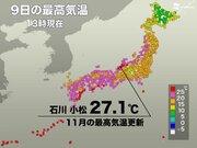 北陸で25℃以上の夏日に 石川・小松では11月の記録更新も