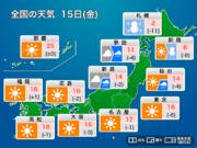 今日15日(金)の天気 東京や大阪は冬晴れ 北海道は暴風雪に警戒