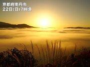 京都・亀岡盆地で冷え込みを象徴する雲海出現
