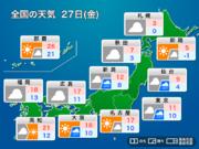 明日27日(金)の天気 関東はどんよりして寒さ戻る 日本海側もスッキリしない天気