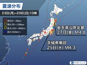 週刊地震情報 2020.11.29 22日(日)に茨城県で震度5弱 国内で震度5弱以上は今年4回目