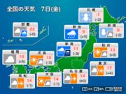 今日7日(金)の天気 北日本は大雪・吹雪に警戒 関東は寒さ落ち着く