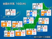 明日10日(木)の天気 北日本は曇りや雨に 関東も雲が多く寒い一日