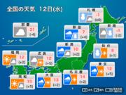 今日12日(水)の天気 関東以西は天気回復 北日本は雪の強まり注意