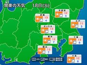 【関東】明日18日(火)の東京は冷たく乾いた北風に 関東冬晴れの一日