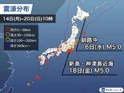 週刊地震情報 2020.12.20 伊豆諸島・利島で18日(金)に震度5弱 震度3以上の地震が相次ぐ