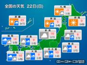 今日22日(日)の天気 広範囲で冷たい雨に 甲信では雪