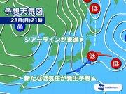 今日23日の天気 全国的に時々雨または雪