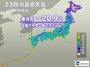 今季一番の冷え込みに 北海道で-20℃以下を観測