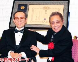 画像:「文化勲章受章を祝う会」を行った船村徹氏と弟子の北島三郎