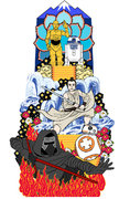 博多祇園山笠に「スター・ウォーズ山笠」 炎の中のカイロ・レンにレイが挑む迫力のデザイン公開