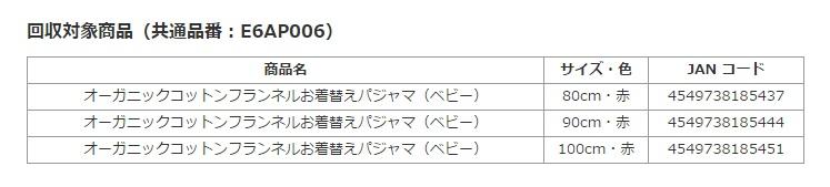 『オーガニックコットンフランネルお着替えパジャマ(ベビー)』回収対象商品