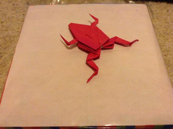 妹が期待していたカエルの折り紙