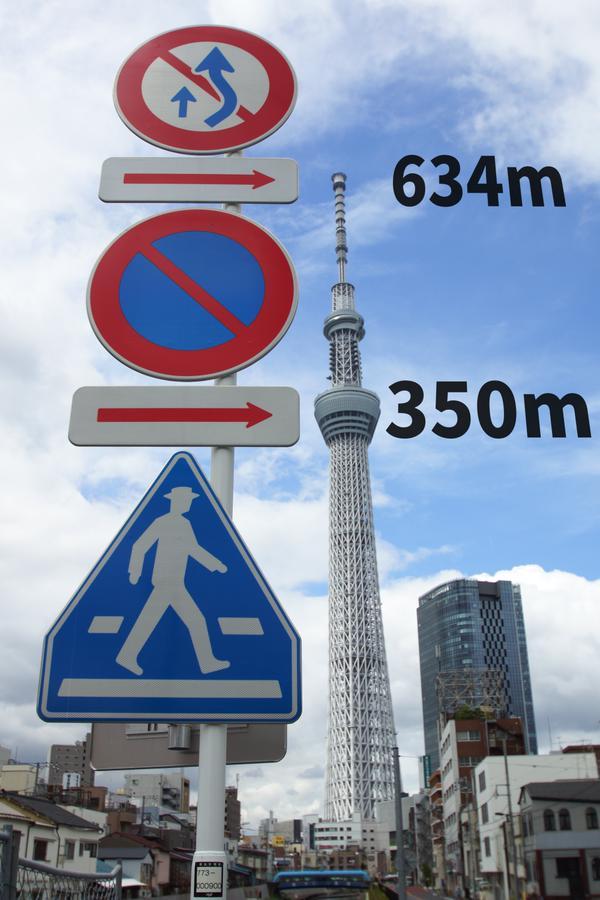 道路標識と東京スカイツリーの写真