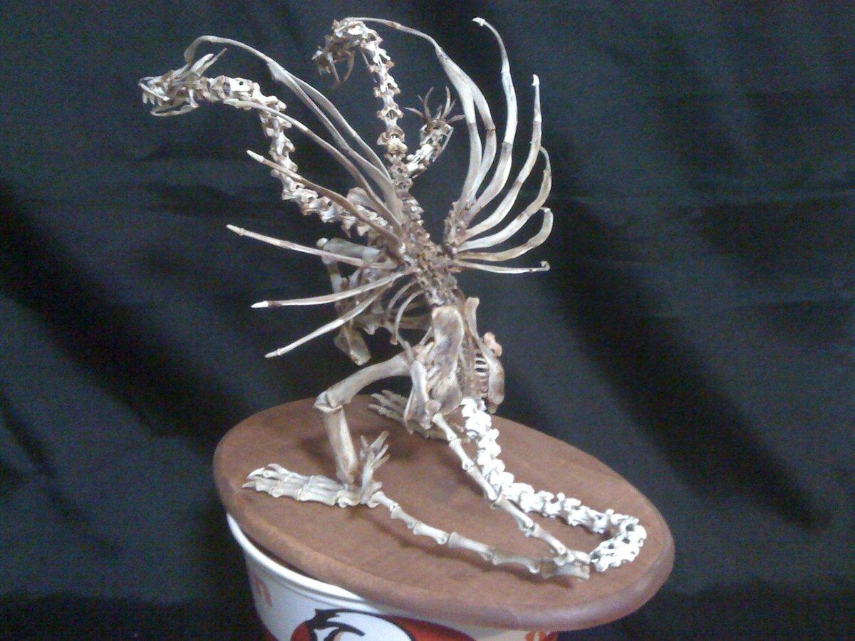 ケンタの骨で作ったキングギドラの骨格