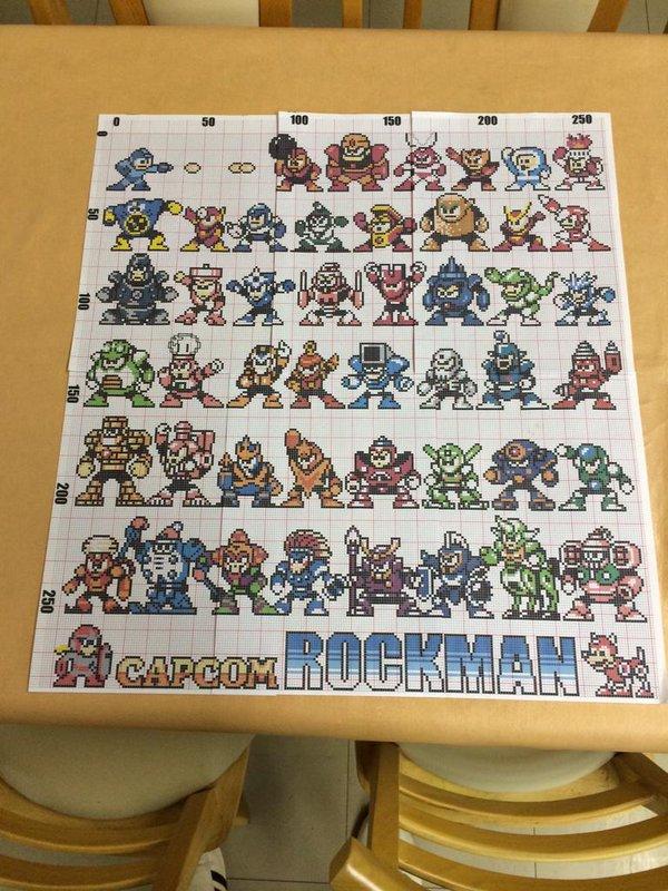網戸をキャンバスにした『ロックマン』のドット絵