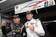 スーパーGT:デビュー戦でポール獲得のマッペリ「ウエットで岡山を走るのはQ2が初めてだった」/GT300ポール会見