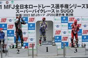 中須賀克行「早めに前に出て、どれだけ集団の台数を少なくできるか考えていた」/全日本ロード第3戦SUGO レース2会見