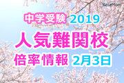 【中学受験2019】人気難関校倍率情報(2/3版)4塾偏差値情報