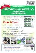 【夏休み2018】植物工場でやさいを育ててみよう、明大植物工場基盤技術研究センター8/7